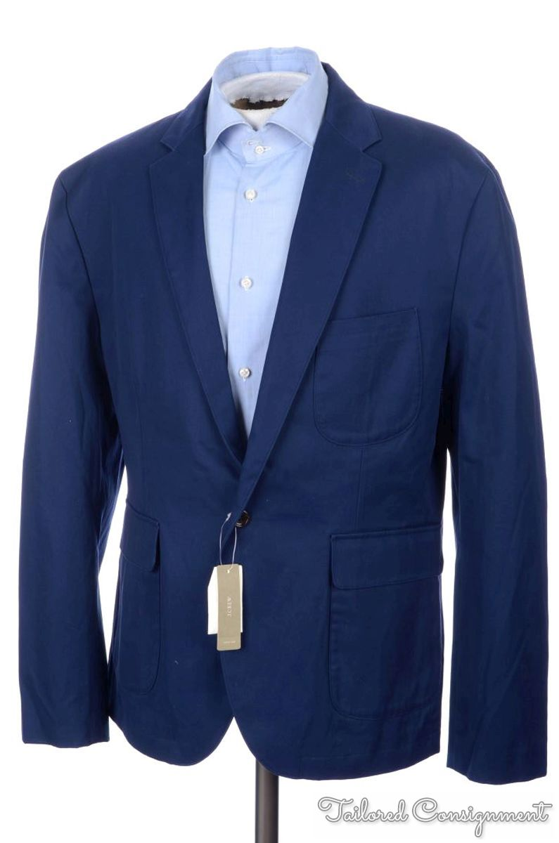 NWT - J CREW Cobalt Blue 100% Cotton Mens Blazer Sport Coat Jacket ...
