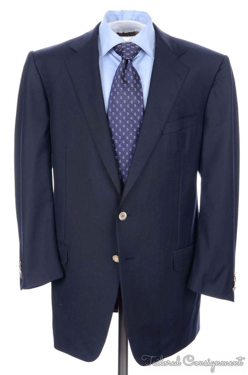 Ermenegildo Zegna Recent Blue Classic Wool Metal Button