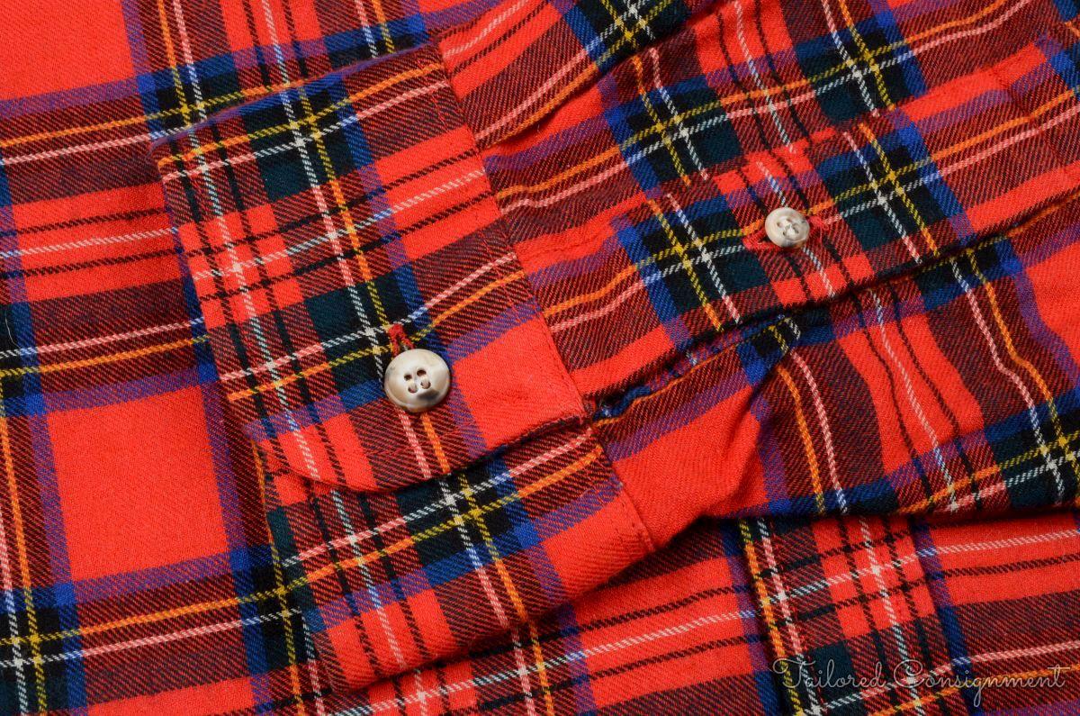 Viyella red plaid check tartan wool cotton mens casual for Red plaid dress shirt