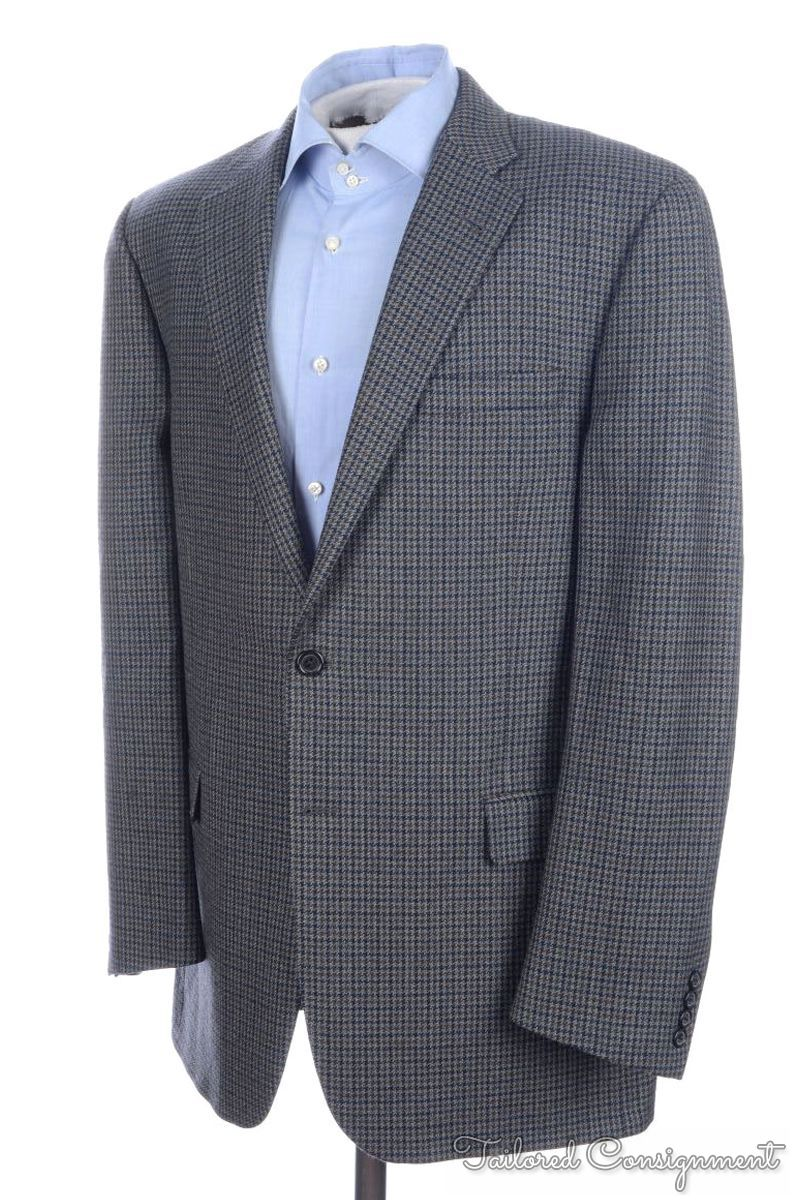 BURBERRY Gray Blue Brown Houndstooth Wool Mens Blazer Sport Coat ...