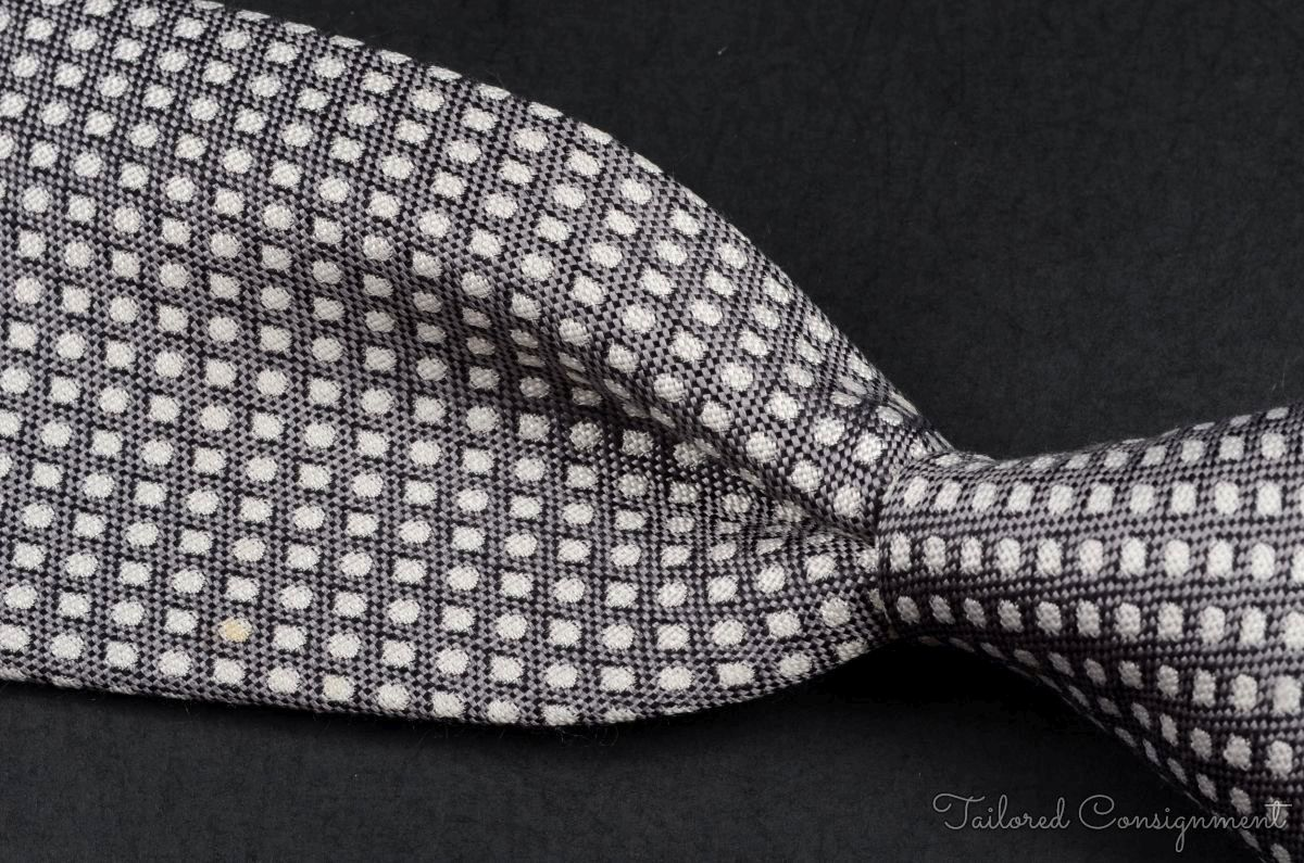 TURNBULL & ASSER Gray Woven Geometric Dot 100% Silk Mens Luxury Tie - 3.75""