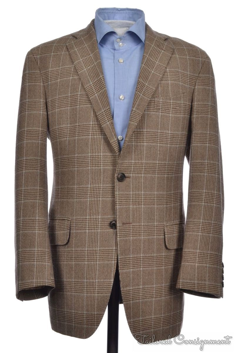 BOGLIOLI COAT Brown Plaid Check 100% Wool Mens Blazer Sport Coat