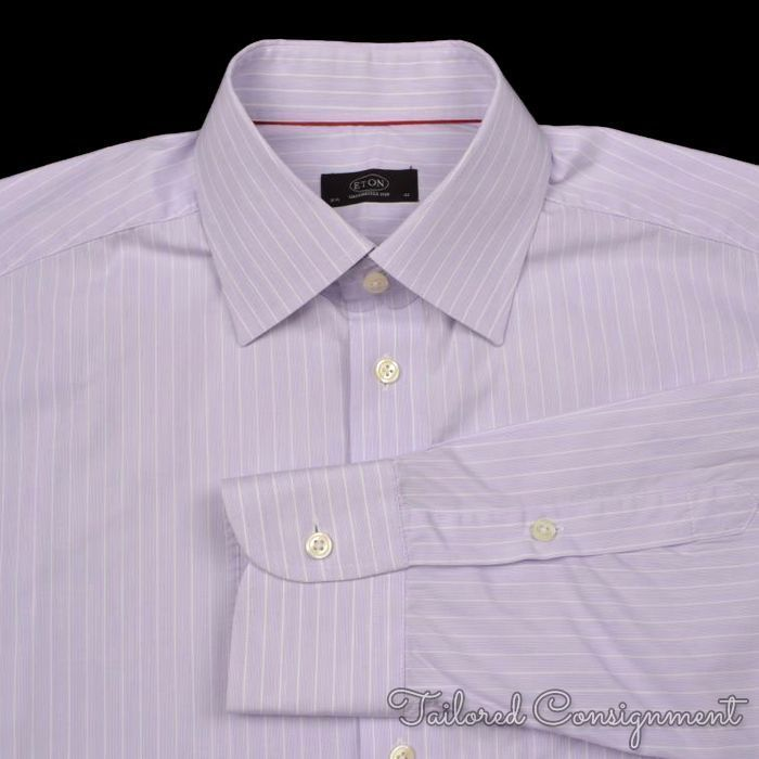 Eton purple striped 100 cotton mens luxury dress shirt for Purple striped dress shirt