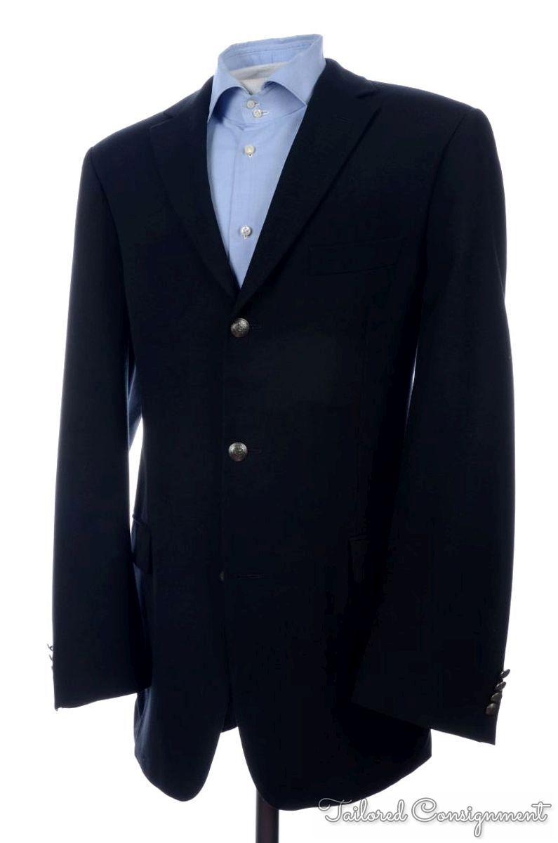 hugo boss black twill wool metal button dual vent blazer. Black Bedroom Furniture Sets. Home Design Ideas