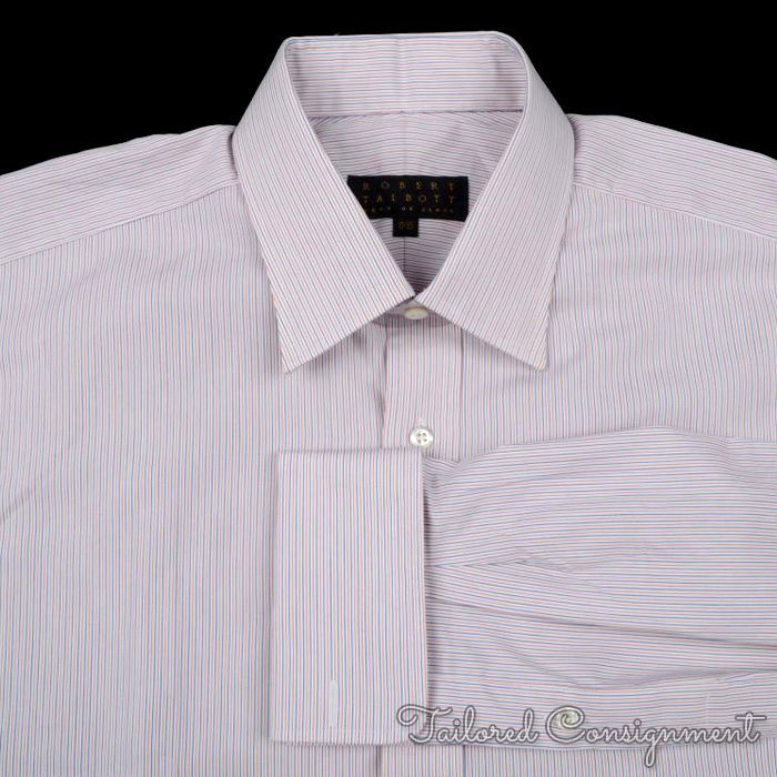 Robert talbott white red blue striped fc cotton mens for Mens red and white striped dress shirt