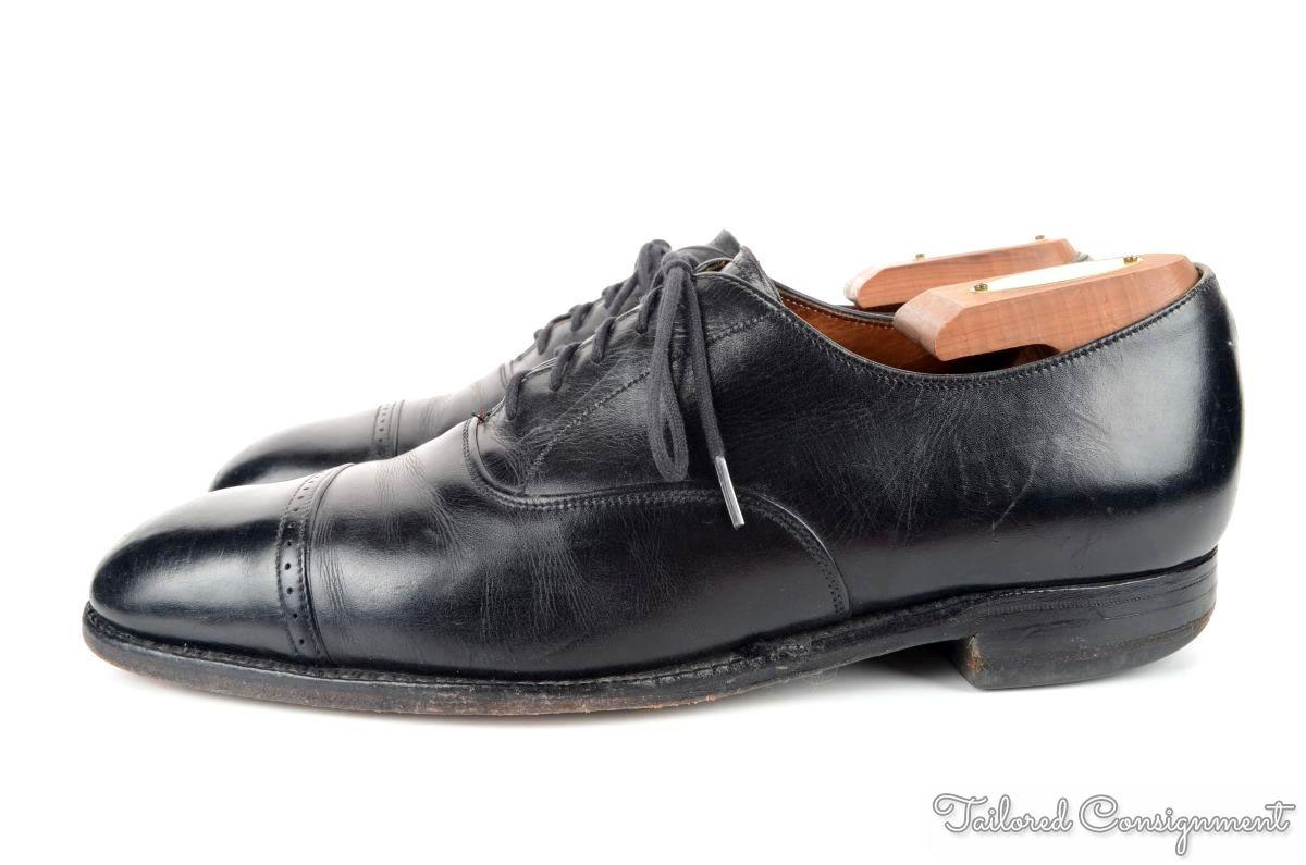 church s black solid oxford cap toe leather mens dress