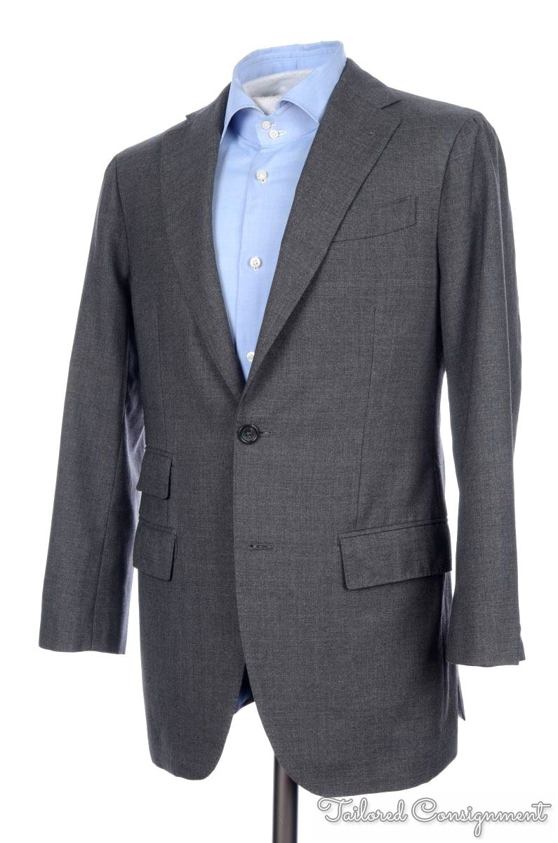Mens 38 R Black Raffinatti Cutaway Jacket Tuxedo Morning: SID MASHBURN Solid Gray Woven Hopsack Wool Mens Blazer
