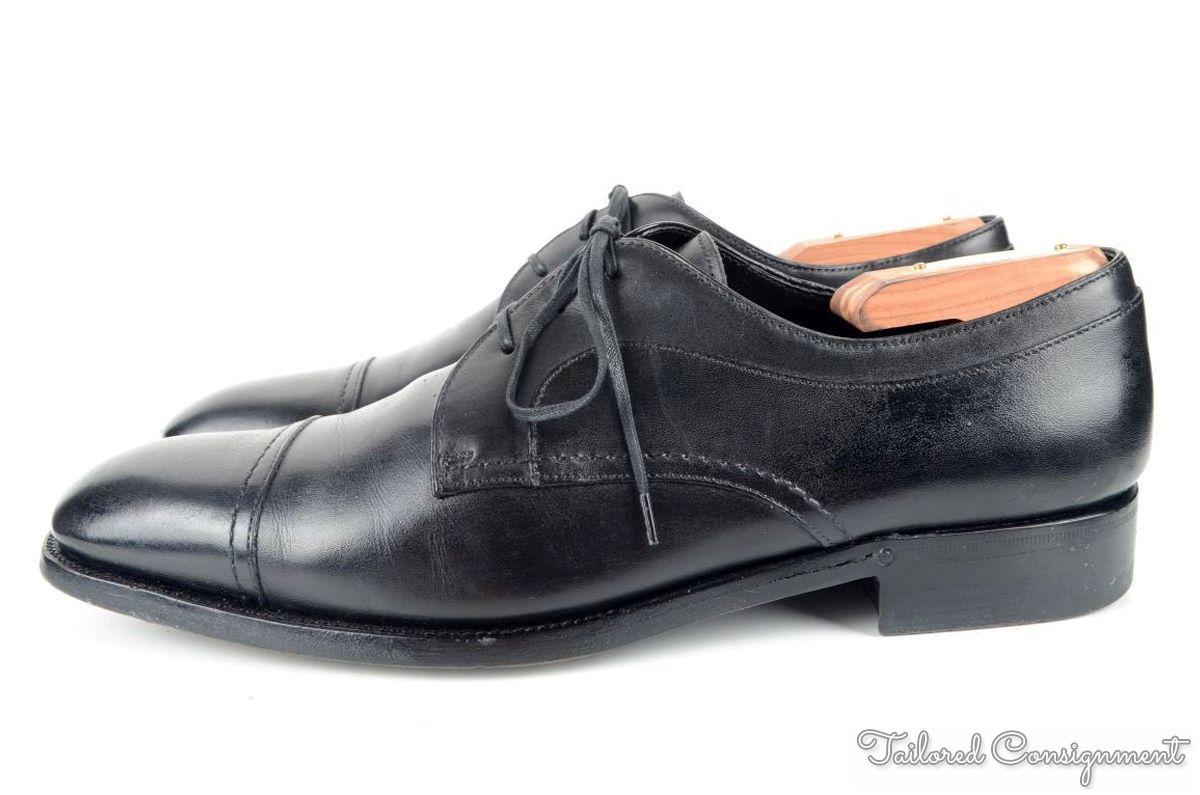 ermenegildo zegna couture black leather captoe luxury mens