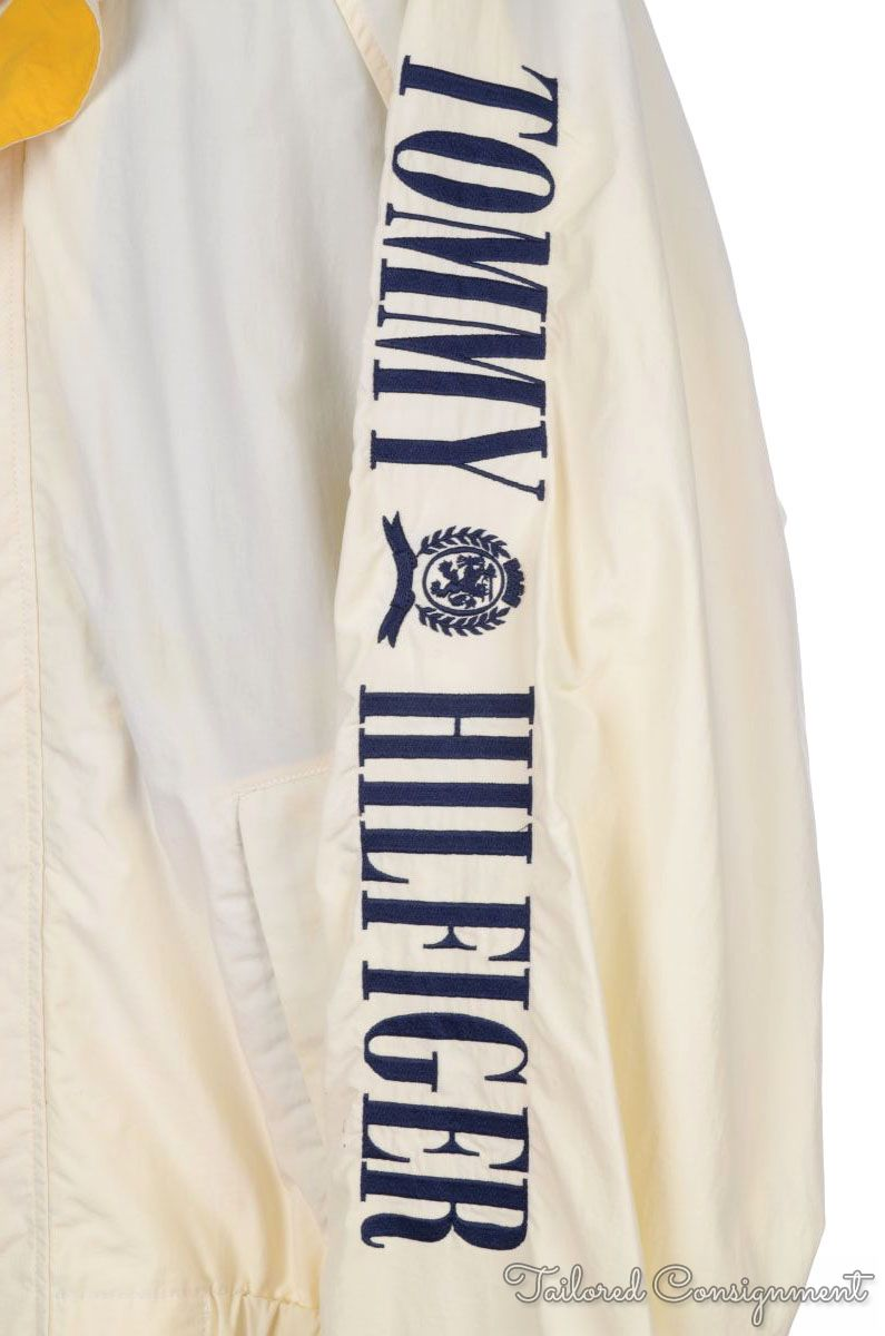 Tommy Hilfiger 90s Vintage White Hooded Spellout Mens Wind