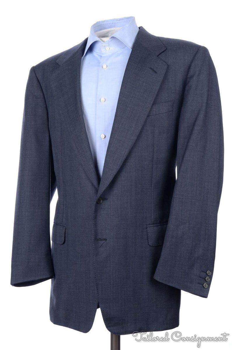 CANALI Blue Plaid 100% Wool Mens Blazer Sport Coat Jacket - EU 52