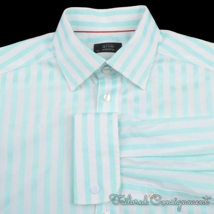 Eton white light teal wide striped 100 cotton mens luxury for Teal mens dress shirt