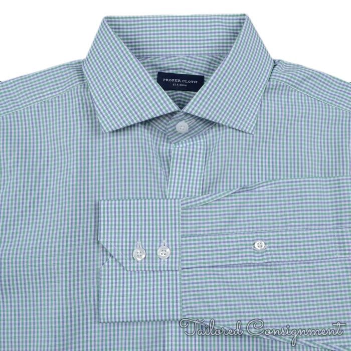 Proper cloth green gingham check cotton mens luxury dress for Proper cloth custom shirt price