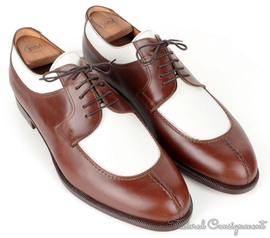 nib santoni classico mashall brown white leather blucher