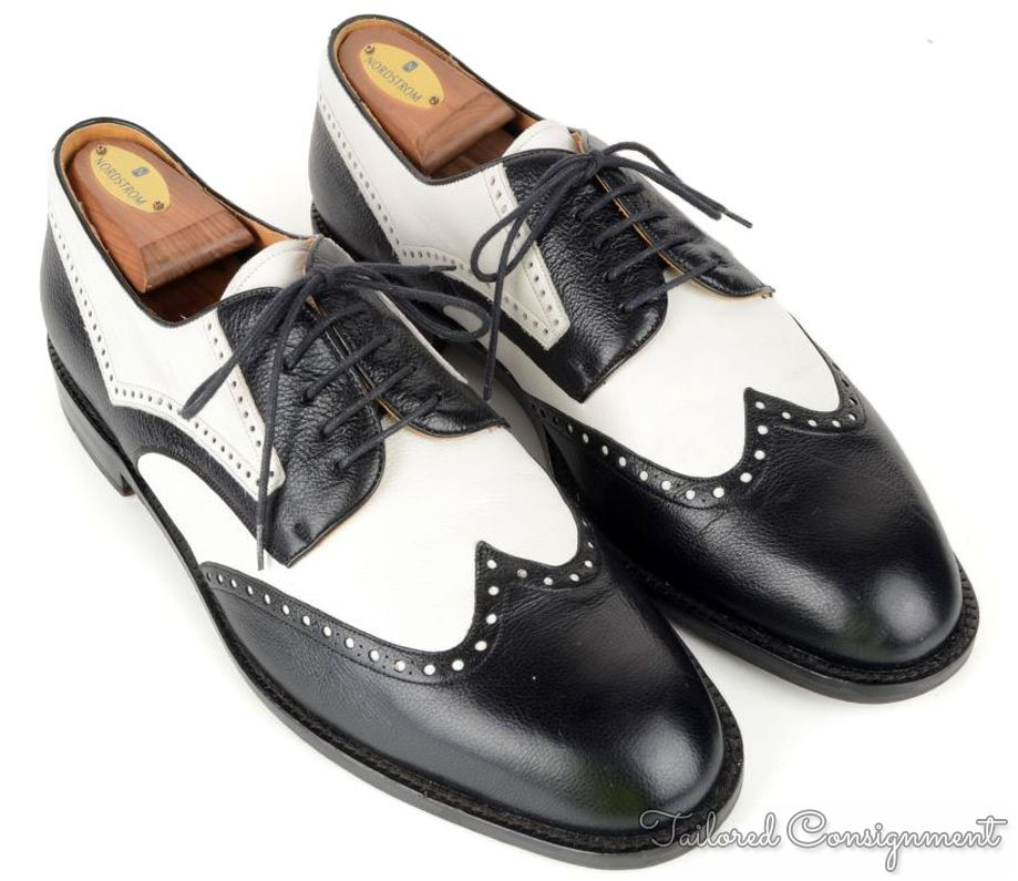 mens black and white spectator dress shoes