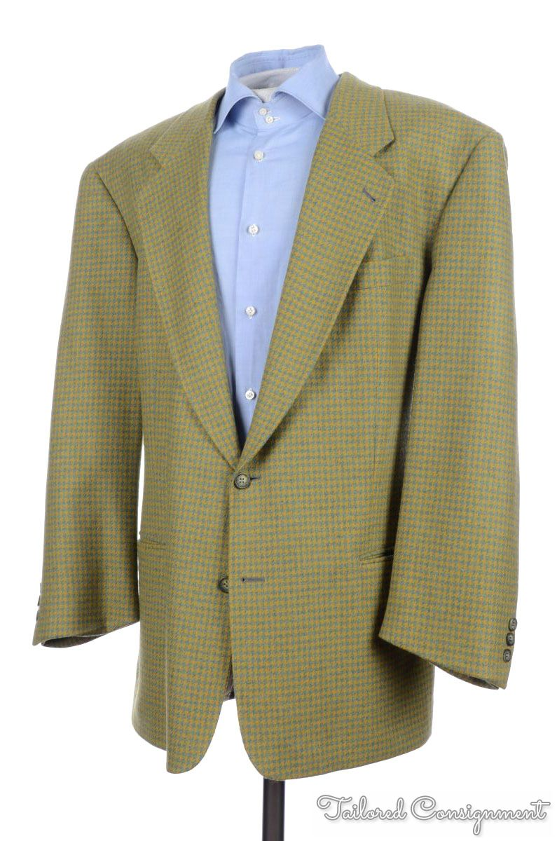 HUGO BOSS Green Gold Houndstooth Wool Mens Blazer Sport Coat
