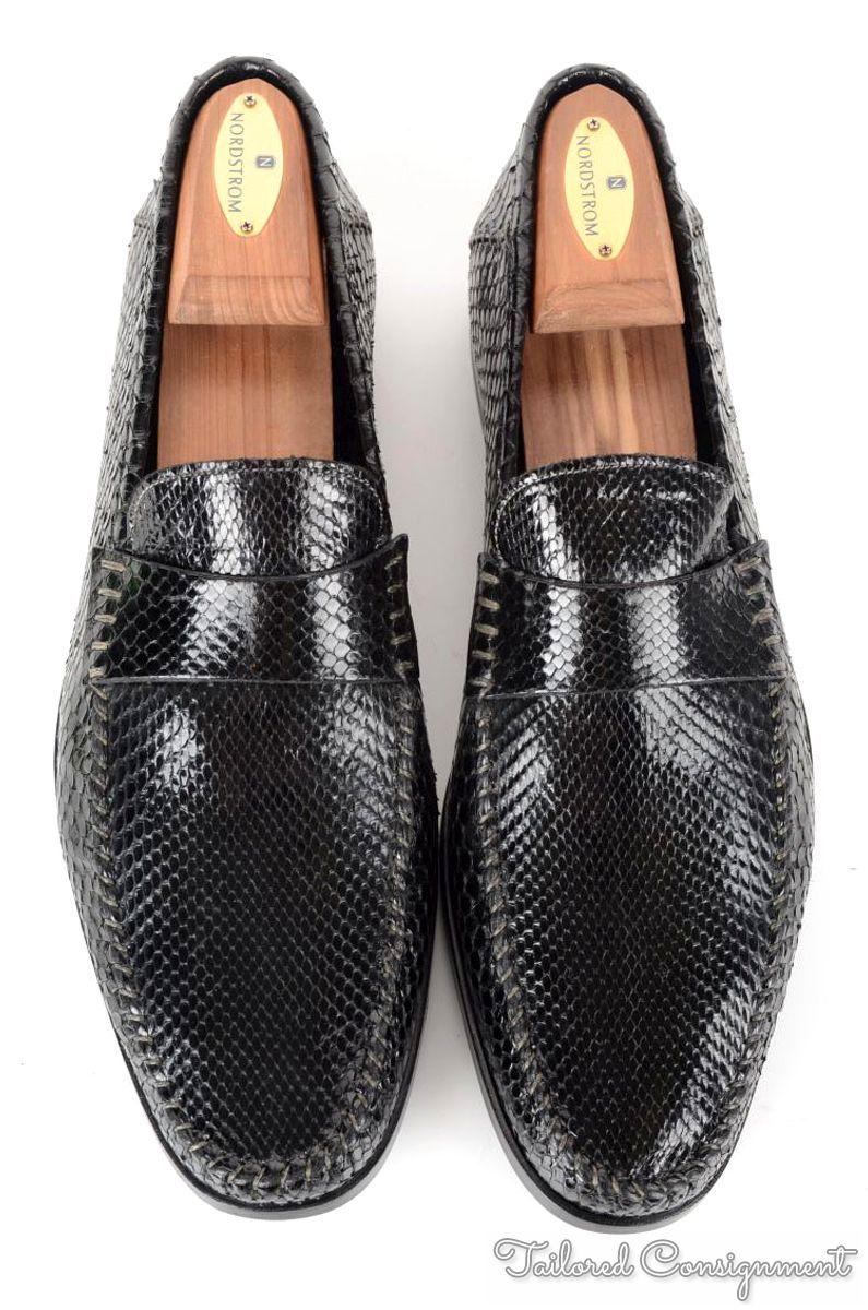 New Nib Santoni Solid Black Scale Mens Dress Shoes Box Uk 8 5 Us 9 5 Styleforum