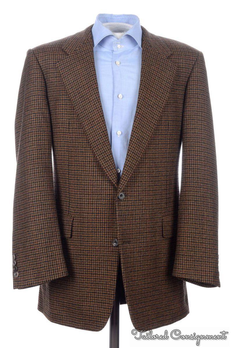 HICKEY FREEMAN Brown Houndstooth CASHMERE Blazer Sport Coat Jacket ...