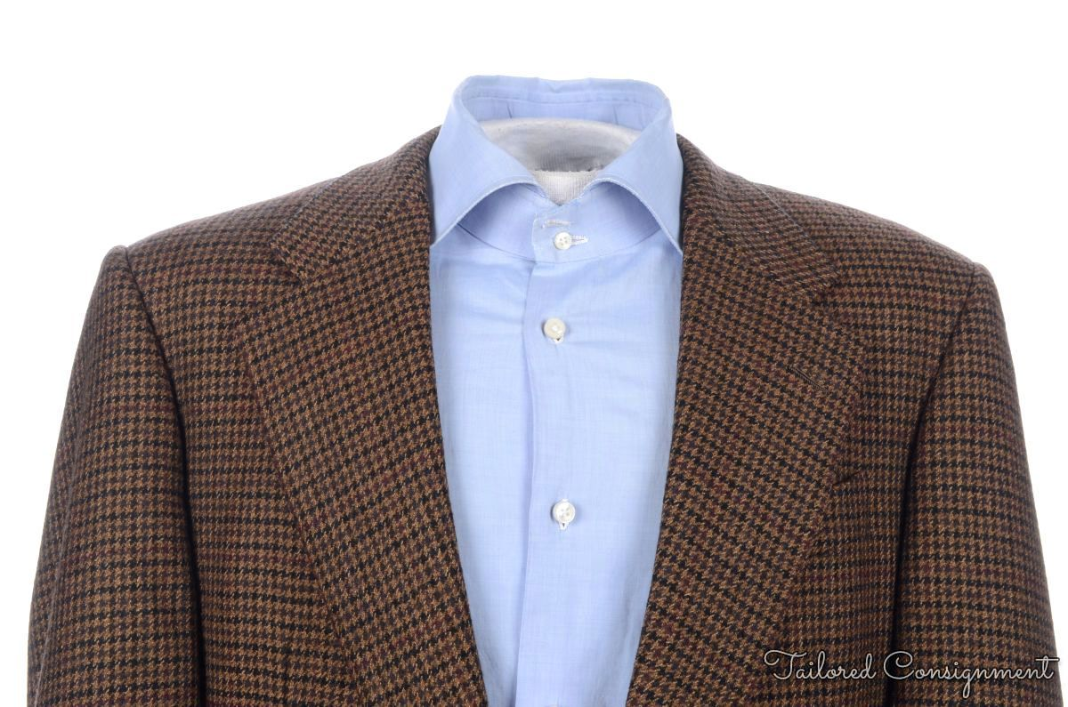 HICKEY FREEMAN Brown Houndstooth CASHMERE Blazer Sport Coat Jacket ...