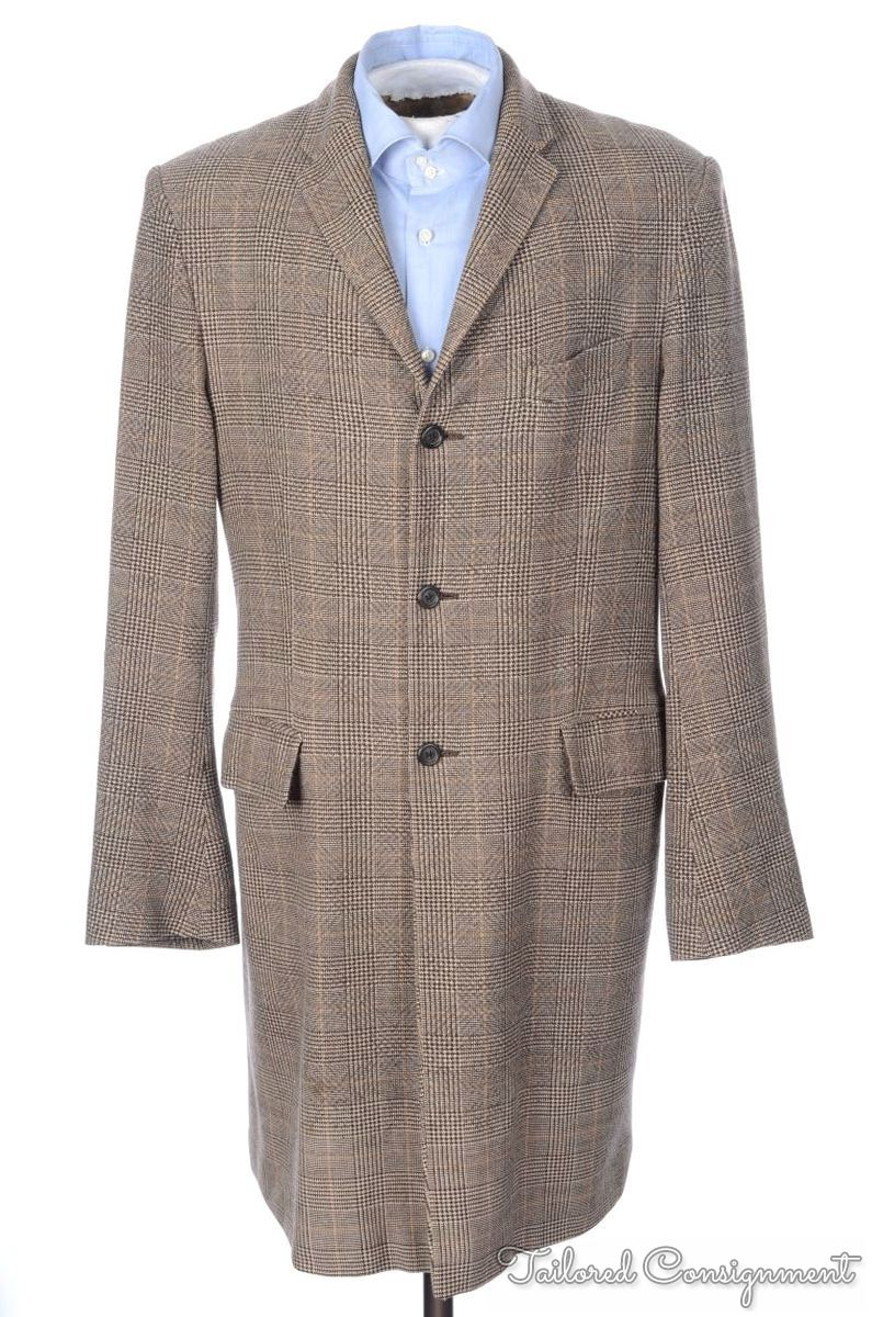 DRIES VAN NOTEN Brown Plaid Check 100% Wool Mens Jacket Trench