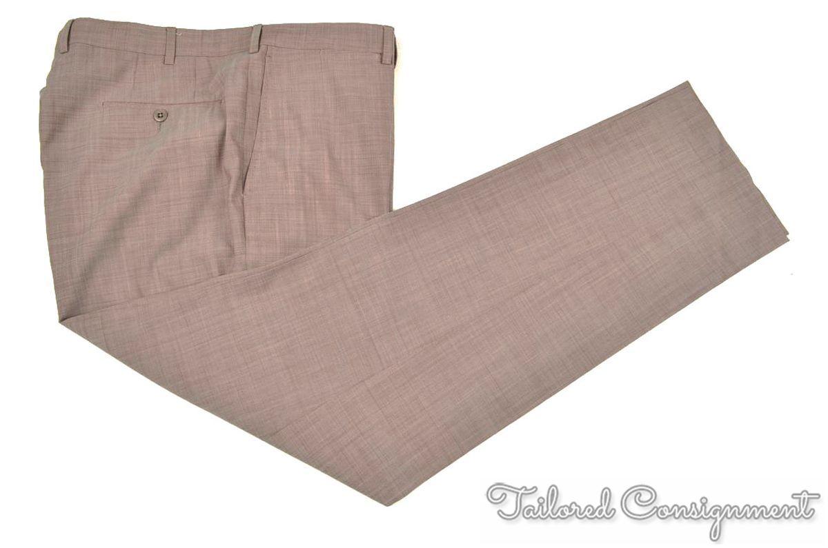 ERMENEGILDO ZEGNA Recent Woven Red COMFORT WOOL Flat Front Pants Trousers - 38