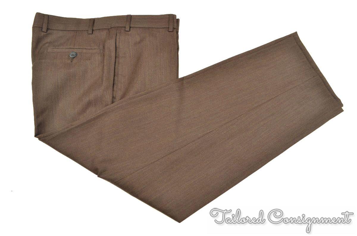 ERMENEGILDO ZEGNA Brown 100% Wool FLAT FRONT Mens Luxury Pants Trousers - 36