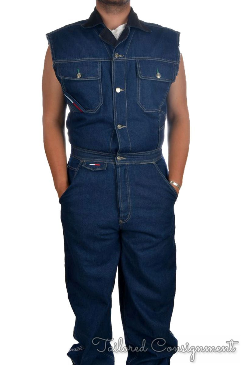 9a14bc2ee2c TOMMY HILFIGER Blue Denim Vintage 90s Coveralls 1 Piece Canadian ...