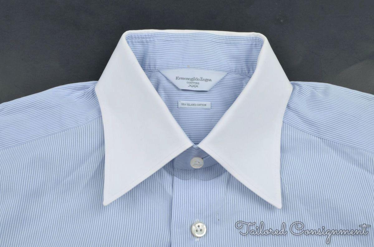 Ermenegildo Zegna Couture Blue Striped Sea Island Cotton Dress Shirt