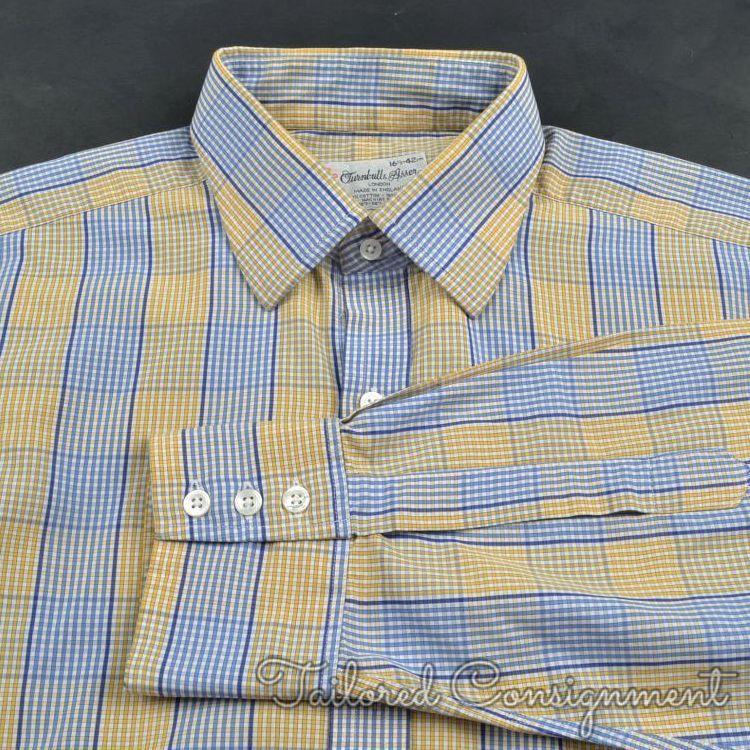 TURNBULL & ASSER bluee Yellow Box Plaid 100% Cotton Luxury Dress Shirt - 16.5