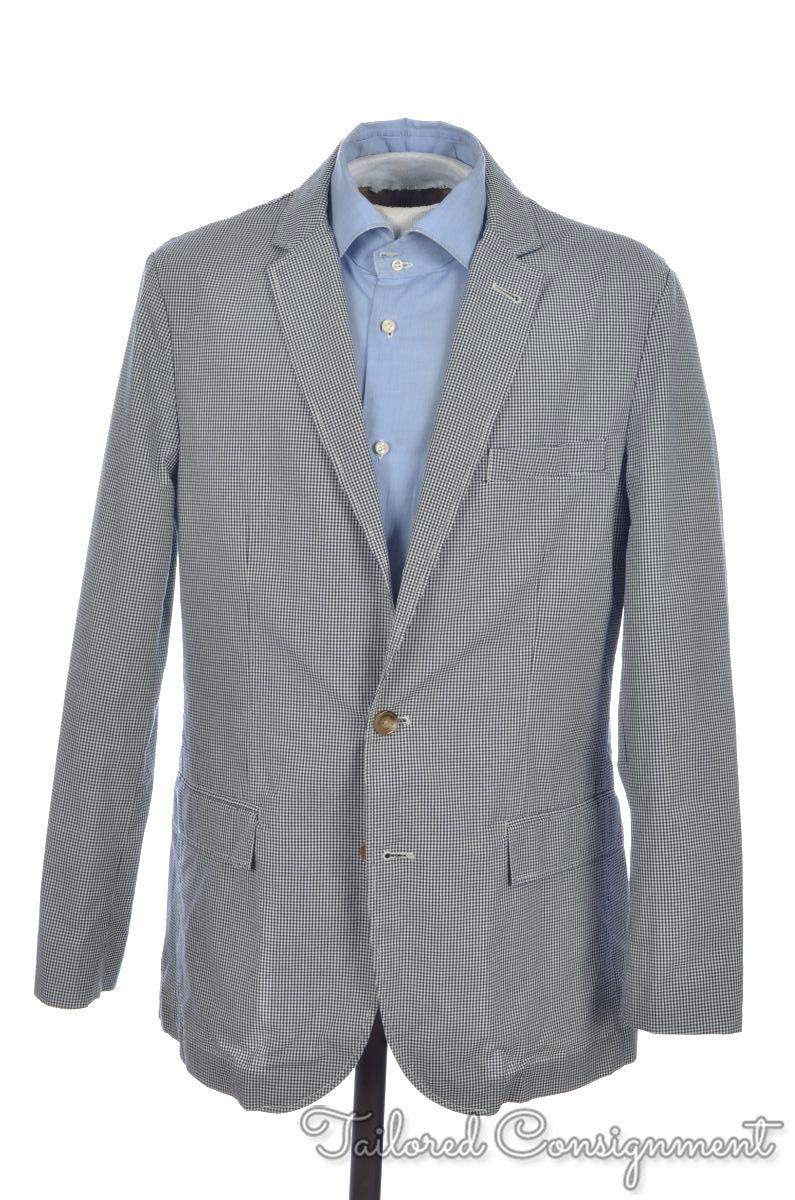 c7f82f659009 Details about J CREW Ludlow Blue White Micro Check Cotton Blazer Sport Coat  Jacket - M / 40 R