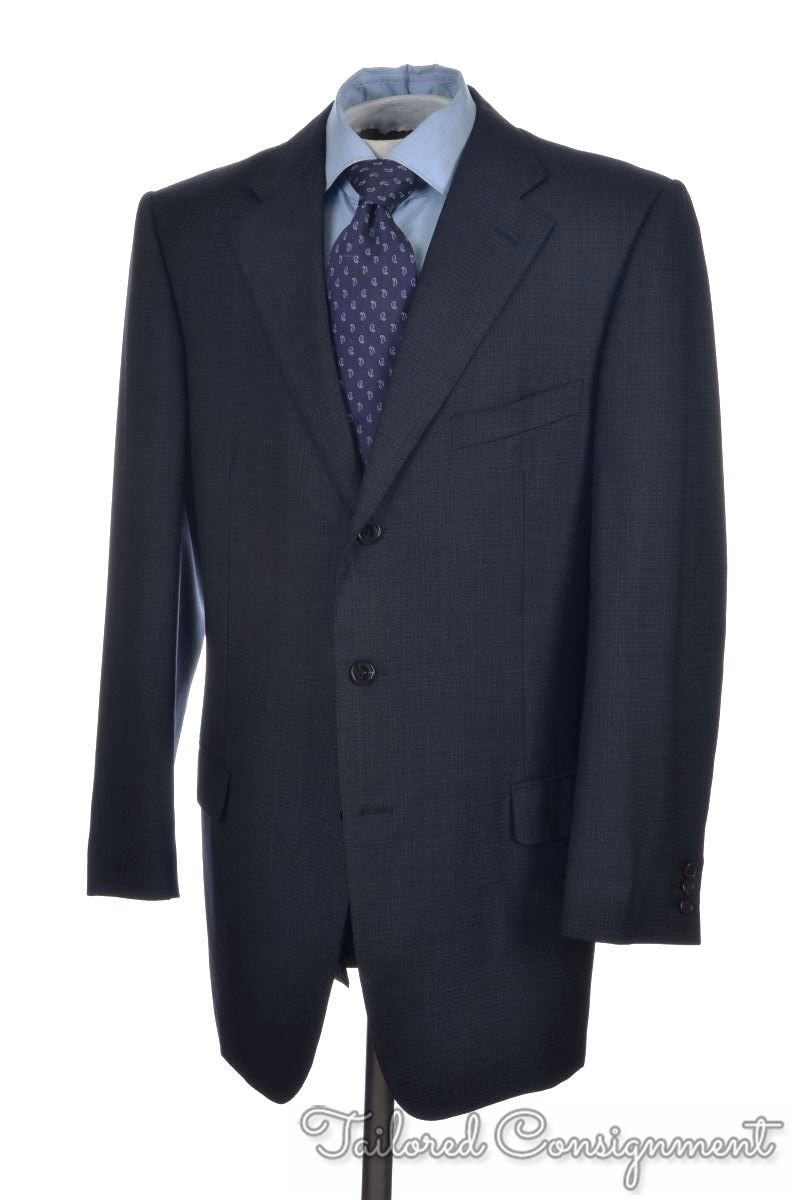 37889636db ERMENEGILDO ZEGNA Blue Micro Check Wool Jacket Pants SUIT Mens - EU ...
