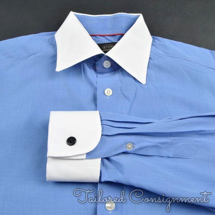 ETON bluee Contrast Collar 100% Cotton Mens FRENCH CUFF Luxury Dress Shirt - 16