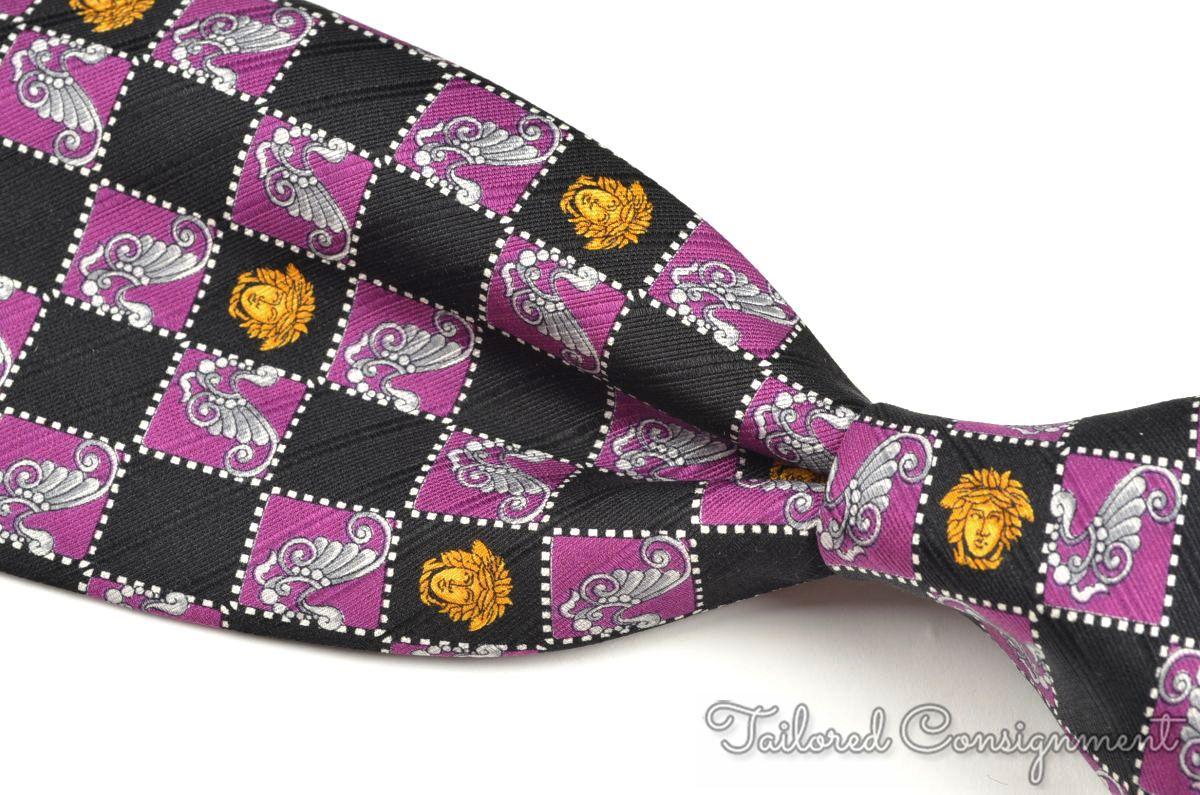 ed6f9a36eb31 Details about GIANNI VERSACE Vintage VTG Black Purple MEDUSA HEAD Box Silk  Luxury Tie - 3.75