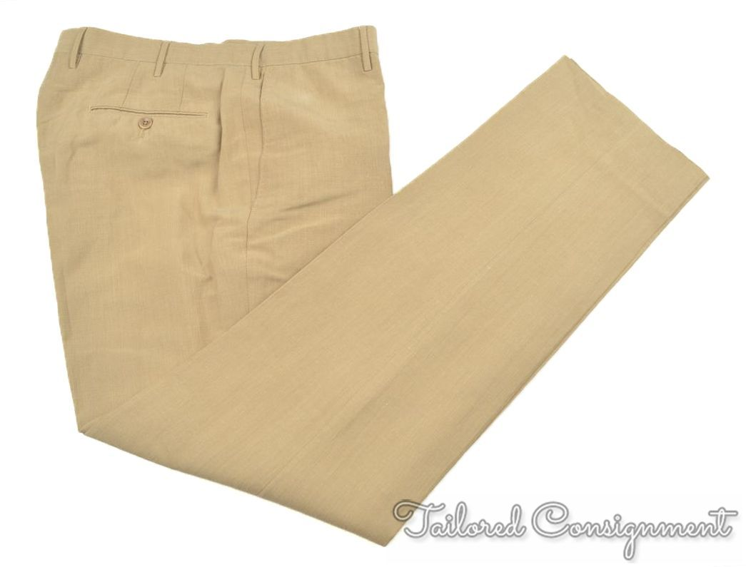 INCOTEX Solid Beige Cotton FLAT FRONT  Mens Luxury Pants Trousers - 36
