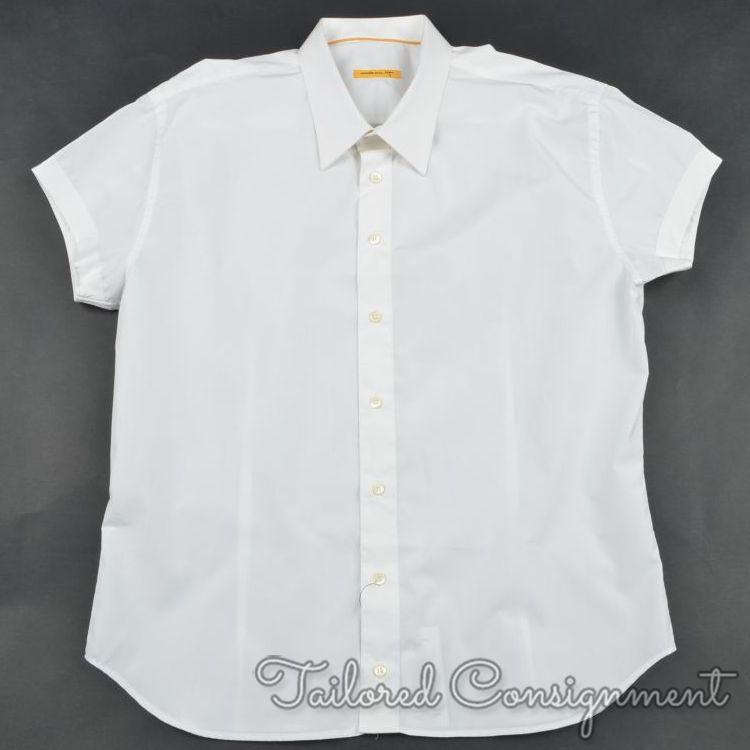 BIJAN Solid White 100% Cotton Mens SHORT SLEEVE Luxury Dress Shirt - 17.5
