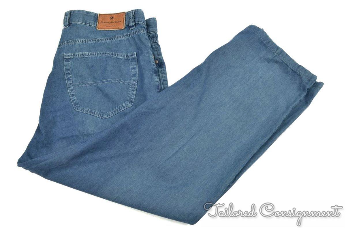 ERMENEGILDO ZEGNA Solid bluee Denim Cotton Mens Pants Jeans - 38